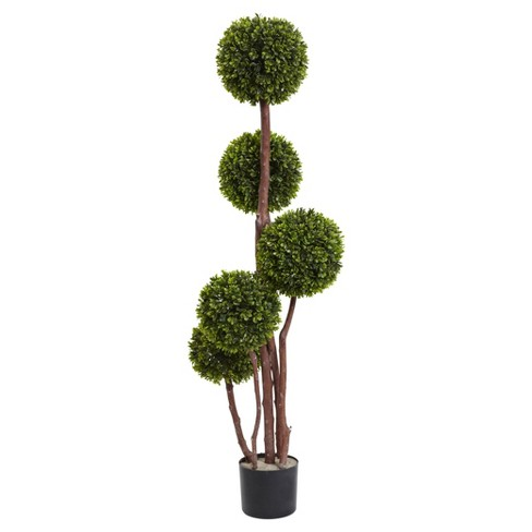Artificial 4ft Boxwood Topiary Tree X5 UV Resistant Indoor/Outdoor - Nearly Natural - image 1 of 1
