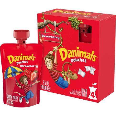 Danimals Strawberry Explosion Kids' Squeezable Yogurt - 4ct/3.5oz Pouches - image 1 of 4