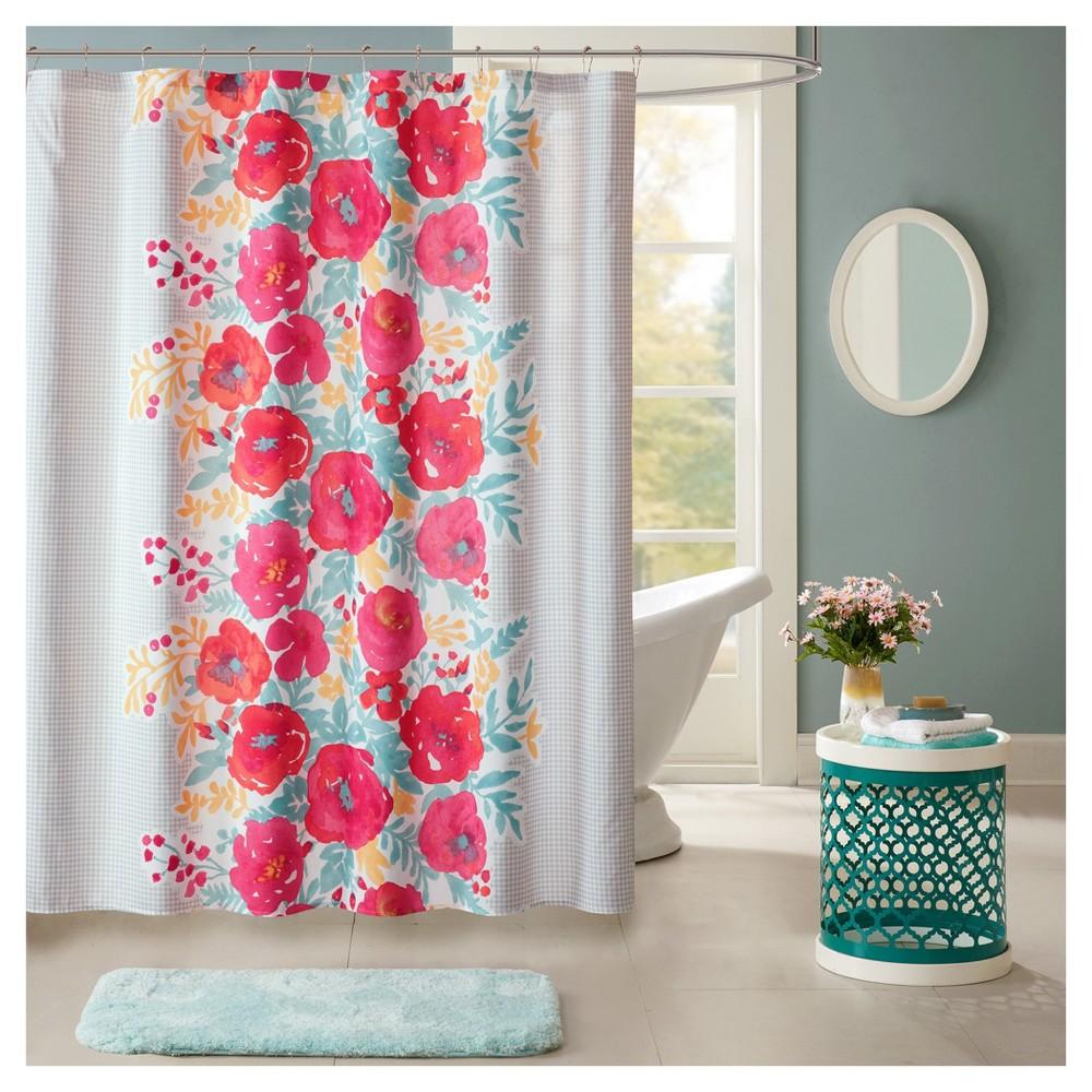 Suri Floral Microfiber Printed Shower Curtain Coral (Pink)