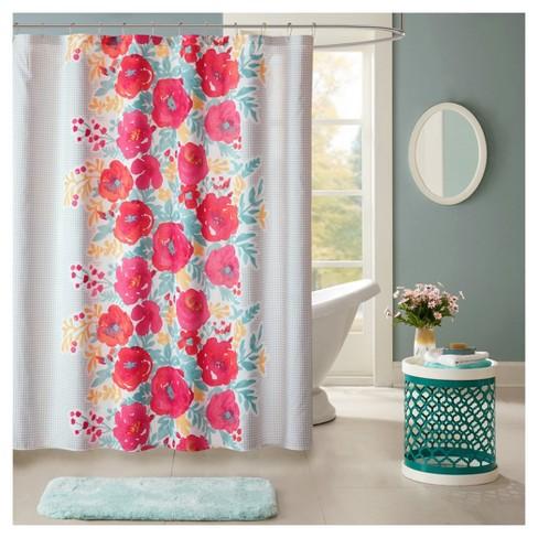 Suri Floral Microfiber Printed Shower Curtain Coral