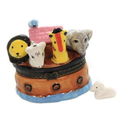 "Hinged Trinket Box 2.25"" Noah Ark Box Boat Elephant Giraffe Bird  -  Decorative Figurines"