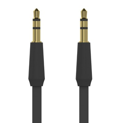 Just Wireless 4ft Flat TPU Auxiliary Cable (3.5mm) - Black