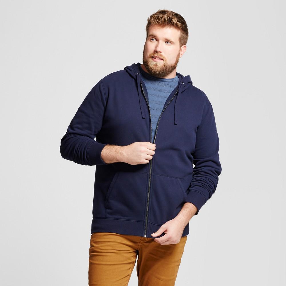 Men's Tall Long Sleeve Hooded Fleece Sweatshirt - Goodfellow & Co Navy (Blue) Xlt