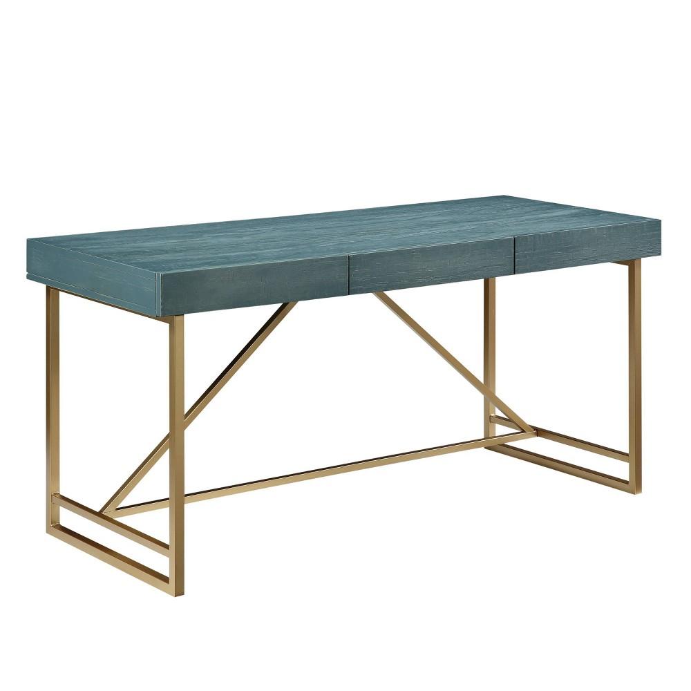 Benga 3 Drawer Writing Desk Antique Blue Gold Mibasics
