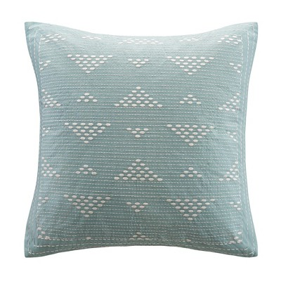 Cario Embroidered Square Throw Pillow Blue