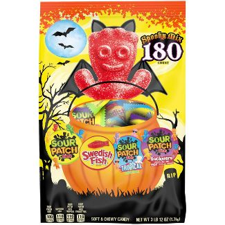 Sour Patch Kids & Swedish Fish Halloween Treat Size Candy Variety Pack - 60oz/180ct