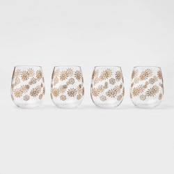 17oz 4pk Acrylic Snowflake Stemless Wine Glasses Gold - Threshold™