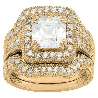 3.94 CT. T.W. Square-Cut 3-Piece Bridal Cubic Zirconia Ring Set In 14K Gold Over Silver - (9)