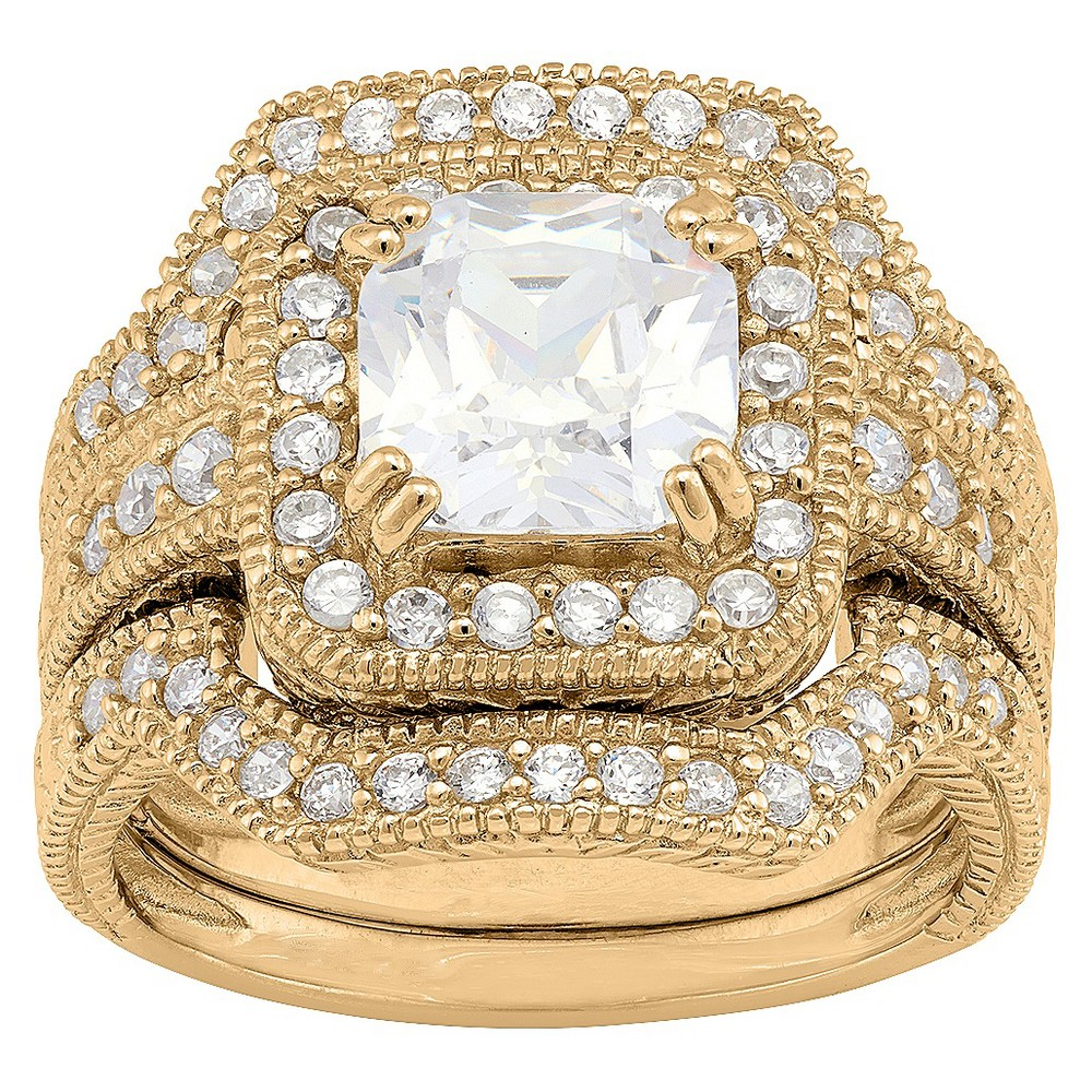 3.94 CT. T.W. Square-Cut 3-Piece Bridal Cubic Zirconia Ring Set In 14K Gold Over Silver - (7), Girl's, Yellow