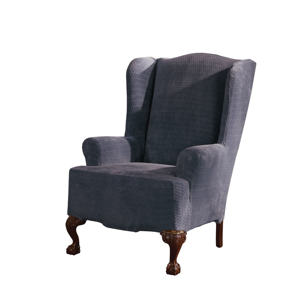 Stretch Royal Diamond Wing Chair Slipcover Storm Blue - Sure Fit