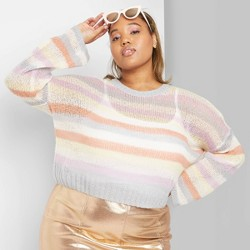 Women's Plus Size Striped Crewneck Pullover Sweater - Wild Fable™ Pink/Blue/Yellow