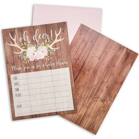 Sparkle and Bash Oh Deer Rustic Woodland Baby Shower Invitations and Envelopes (36 Pack) - image 1 of 4