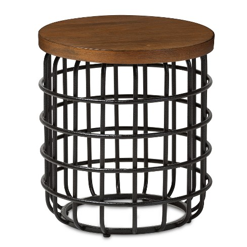 Carie Rustic Style Antique Textured Finished Metal And Distressed Wood Accent Table Brown Black Baxton Studio
