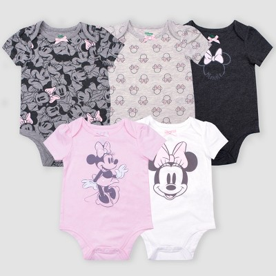 Baby Girls' 5pk Disney Minnie Mouse Short Sleeve Bodysuits - Gray/Pink/White Newborn