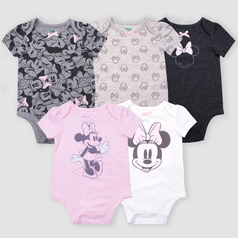 d851445136 Baby Girls  5pk Disney Minnie Mouse Short Sleeve Bodysuits - Gray Pink White