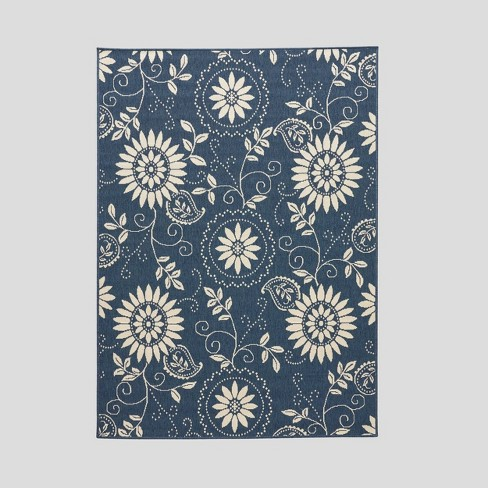 Wildflower Botanical Outdoor Rug Blue/Ivory - Christopher Knight Home - image 1 of 5