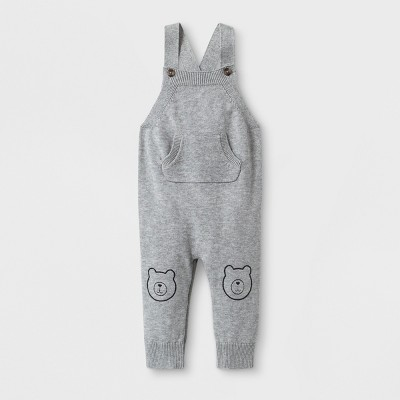 Baby Boys' Sweater Romper with Kangaroo Pocket and Critter Knee Patches - Cat & Jack™ Gray Newborn