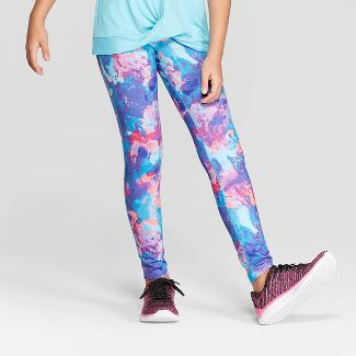 Girls' Printed Performance Leggings - C9 Champion® Purple/Blue XL