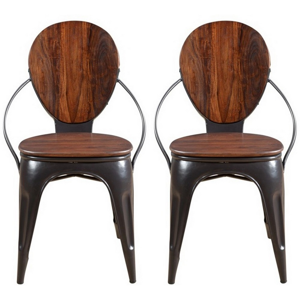 Set Of 2 Adler Wood And Iron Dining Chair Brown - Treasure Trove