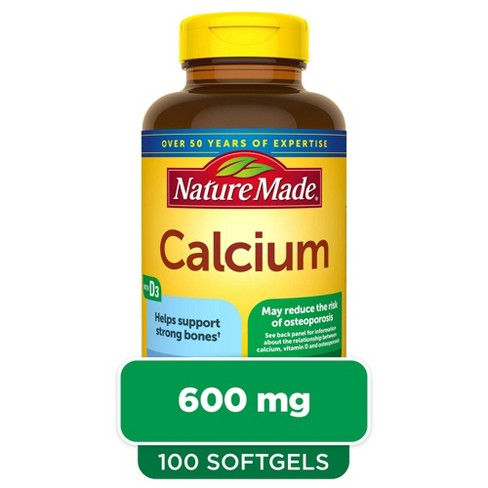 Nature Made Calcium 600 mg Softgels with Vitamin D3 - 100ct - image 1 of 4