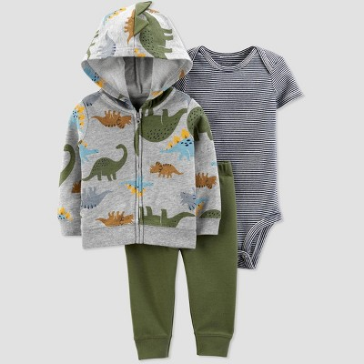 Baby Boys' Dino 3pc Cardigan Top & Bottom Set - Just One You® made by carter's Gray 6M