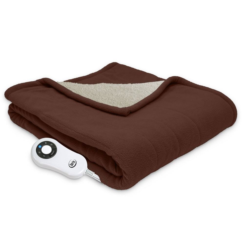 "Image of ""50"""" x 60"""" Microfleece Electric Throw Blanket Chocolate - Serta"""
