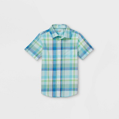 Boys' Woven Short Sleeve Button-Down Shirt - Cat & Jack™ Light Blue/Green