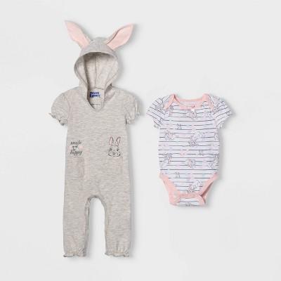 Baby Girls' Peter Rabbit Bunny Short Sleeve Romper and Bodysuit - Gray 3-6M