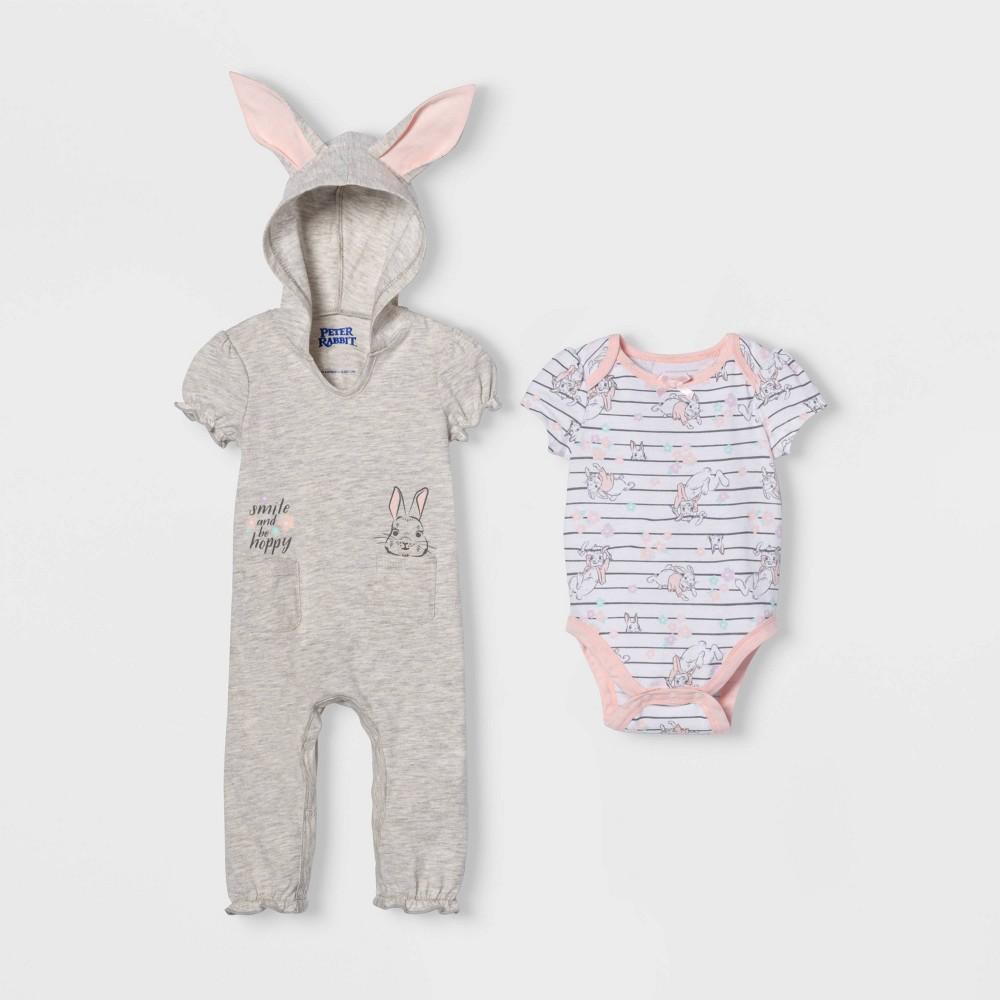 Image of petiteBaby Girls' Peter Rabbit Bunny Short Sleeve Romper and Bodysuit - Gray 6-9M, Girl's