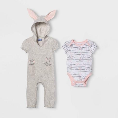 Baby Girls' Peter Rabbit Bunny Short Sleeve Romper and Bodysuit - Gray - image 1 of 1