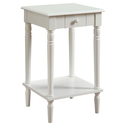 French Country End Table White Convenience Concepts
