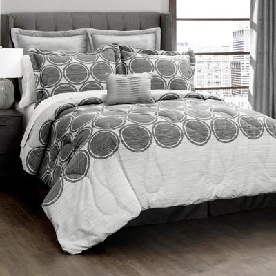 Gray Textured Circle Comforter Gray Set (Full/Queen)6pc - Lush Decor®