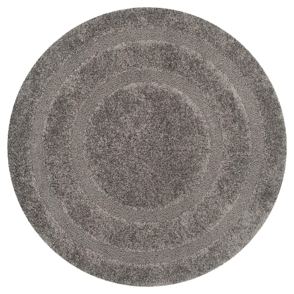 Gray Abstract Shag/Flokati Loomed Round Area Rug - (6'7 Round) - Safavieh