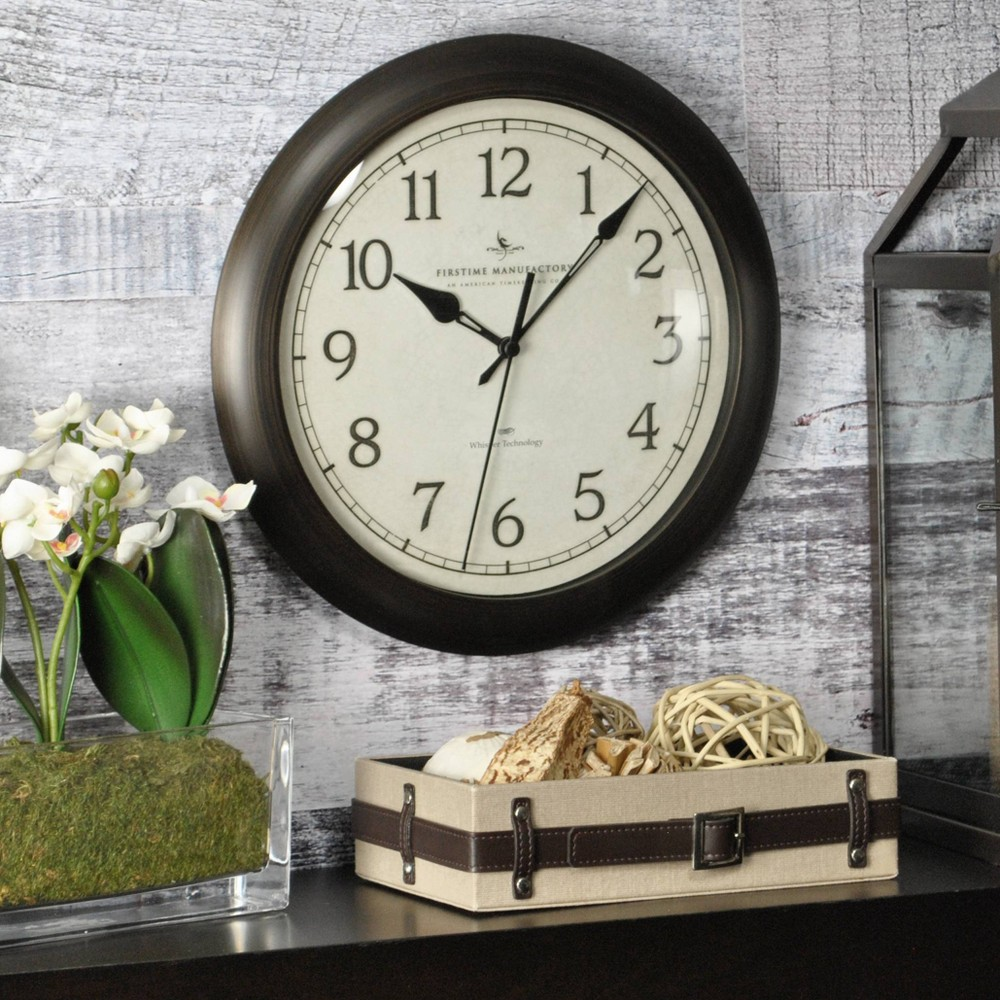 "Image of ""11"""" Slim Round Wall Clock Oil Rubbed Bronze - FirsTime"""