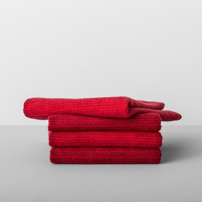 4pk Striped Barmop Towels Red - Made By Design™