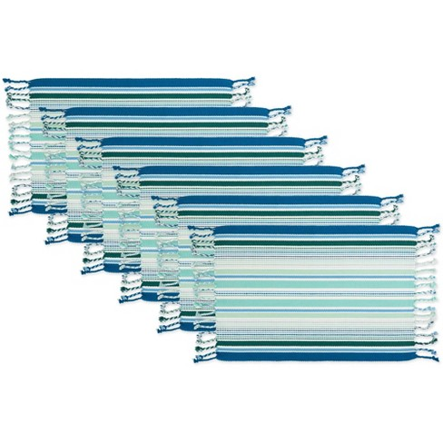 Set of 6 Tidal Stripe Fringed Placemat Blue - Design Imports - image 1 of 4