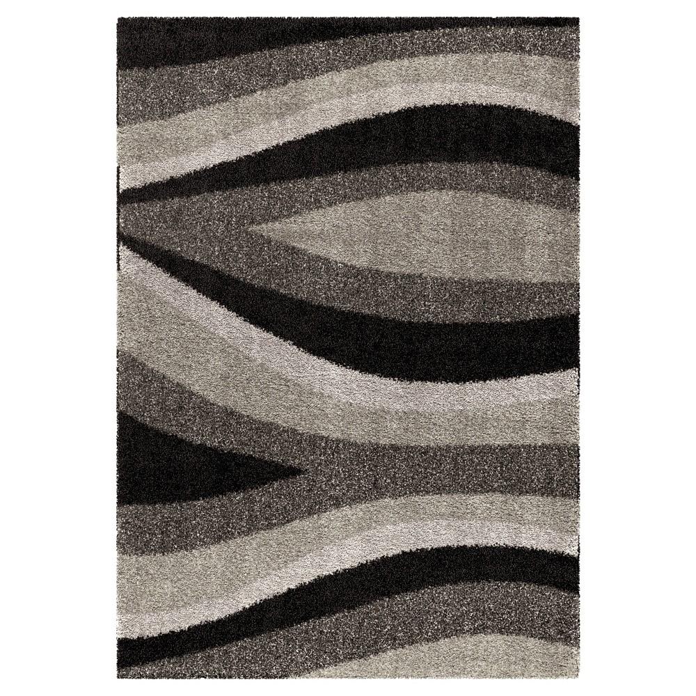 Black Stripe Woven Area Rug - (7'10