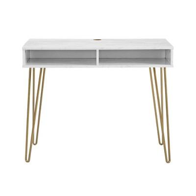 Athena Computer Desk with Storage Marble White - Novogratz