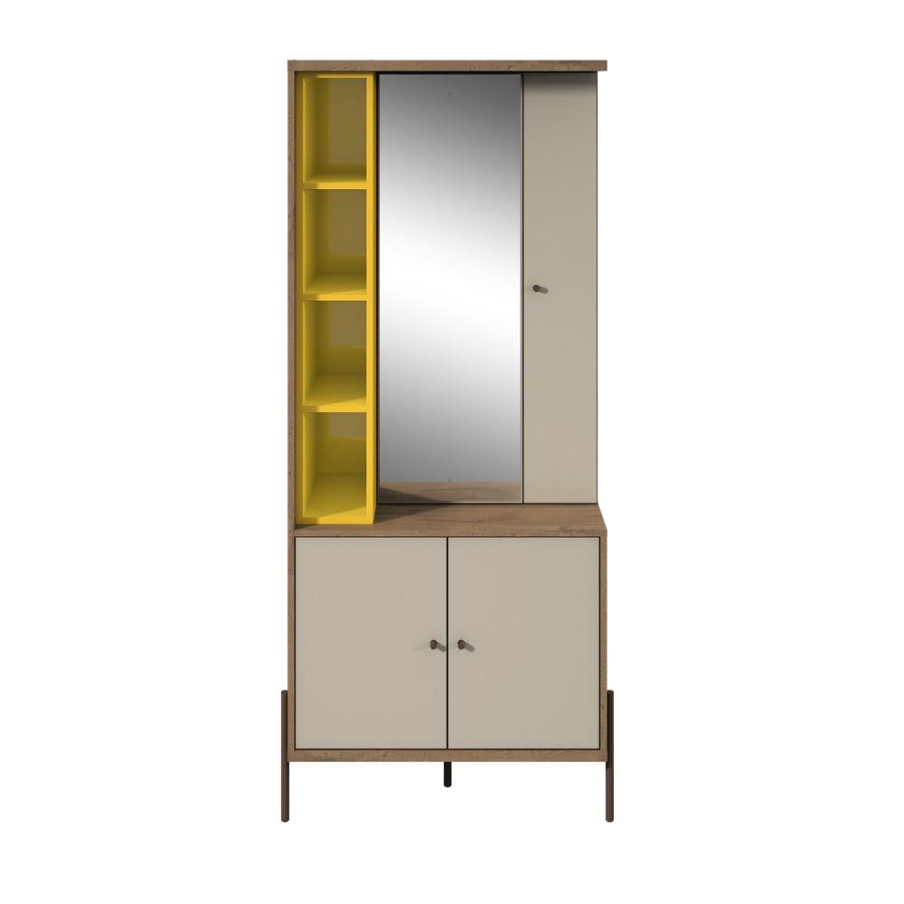 Joy Vanity Jewelry Armoire with Mirror Yellow/Off-White (Yellow/Beige) - Manhattan Comfort