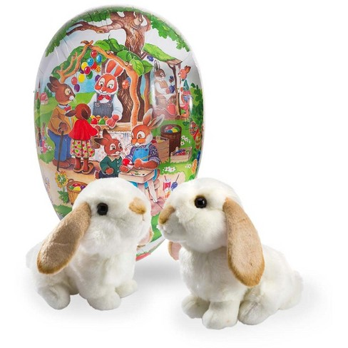 Large Paper Mache Easter Egg Basket With Two Lop Eared Rabbits For