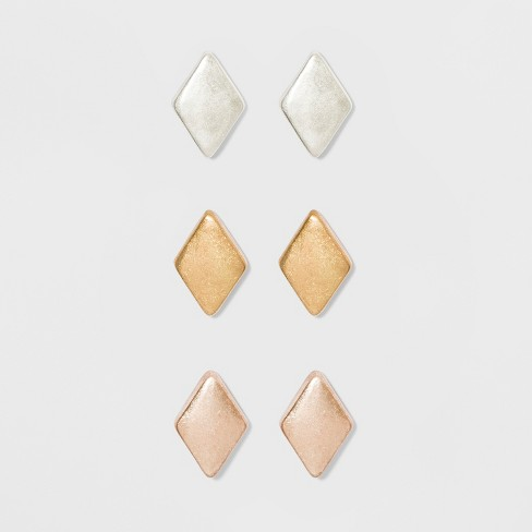Rhombus Shape Metal Button Earring Set 3ct - Universal Thread™ - image 1 of 3