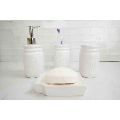 Home Basics 4 Piece Dolomite Mason Jar Bath Set : Target