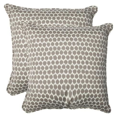 2pc Square Outdoor Decorative Throw Pillow Set Ikat Pillow