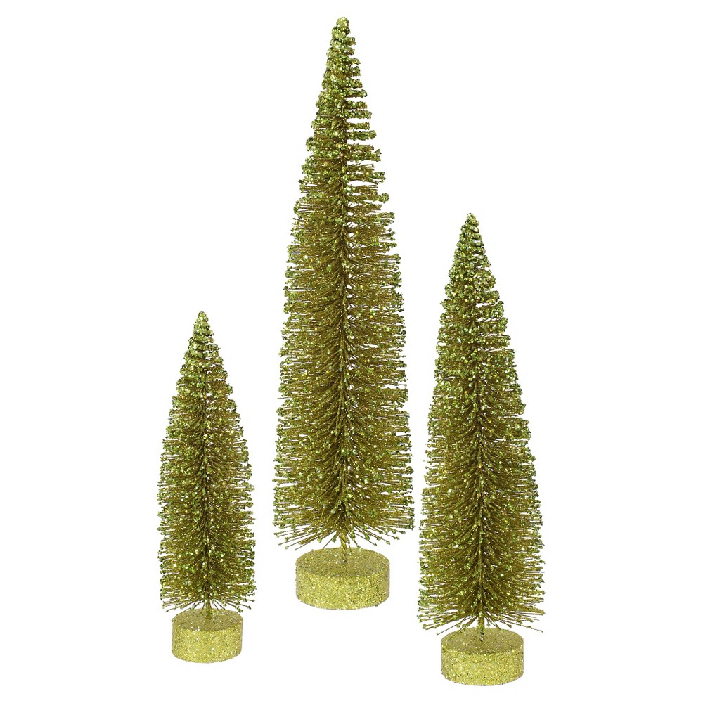 "Image of ""12, 16"""", 20"""" Unlit Artificial Christmas Tree Glitter Oval Olive Set, Light Olive"""