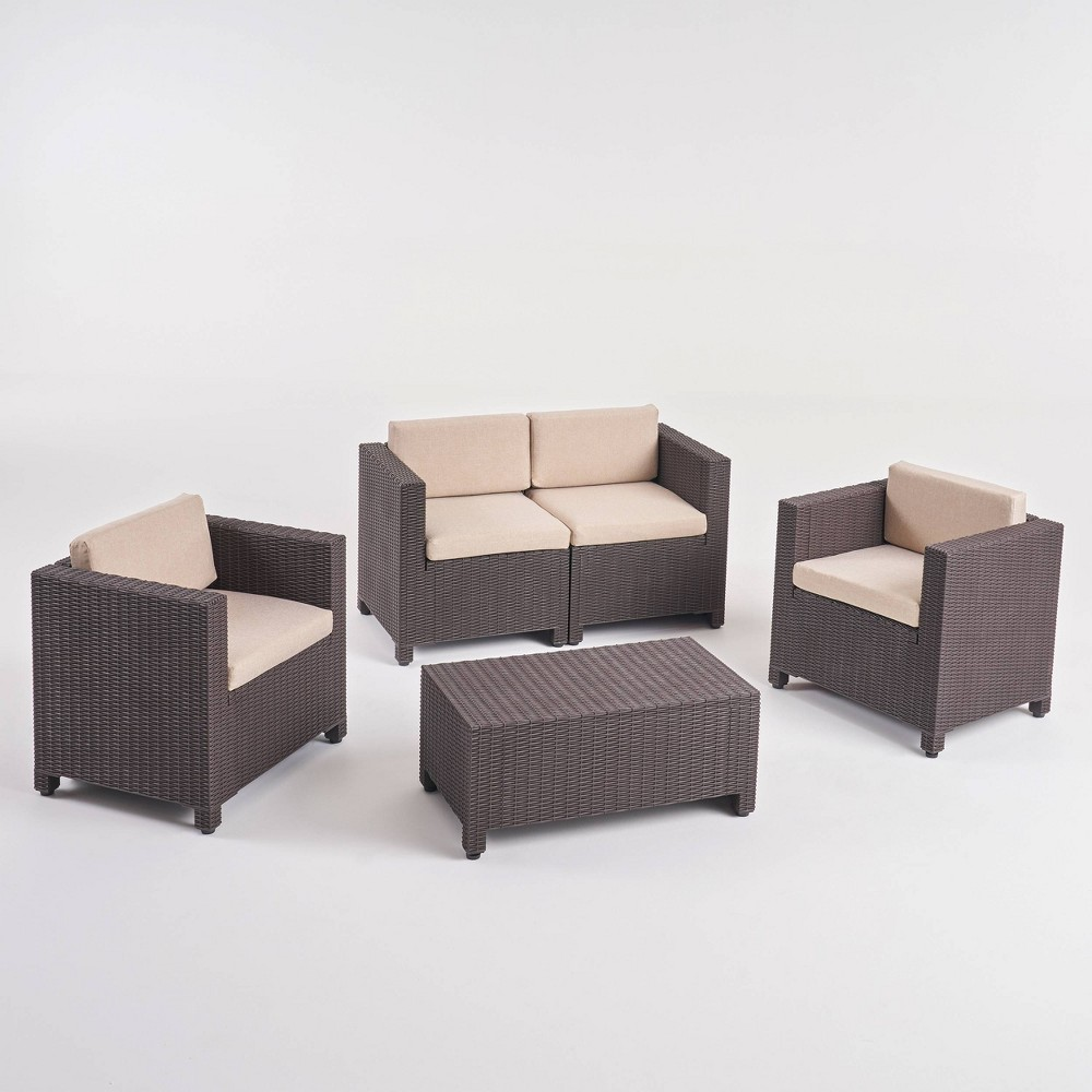 4pc Patio Chat Set - Dark Brown - Christopher Knight Home