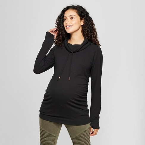 57b9e13a11a Maternity Long Sleeve Cowl Neck Sweatshirt - Isabel Maternity by Ingrid    Isabel™ Black
