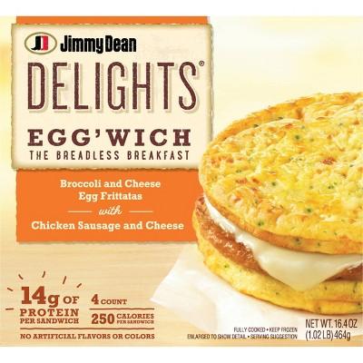 Jimmy Dean Broccoli & Cheese Frozen Frittata Sandwich - 4ct
