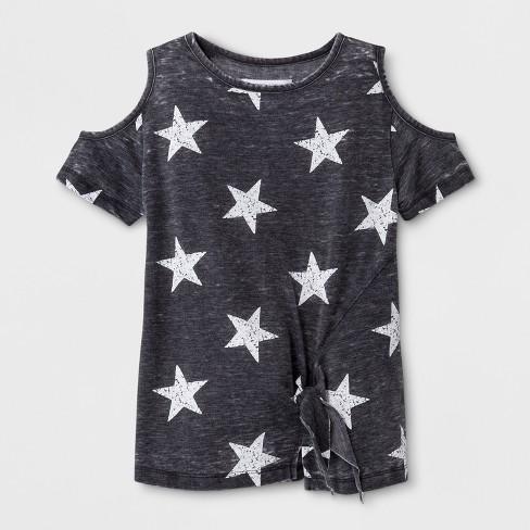 1b887e811b19c Grayson Social Girls  Stars Print Cold Shoulder Short Sleeve T-Shirt -  Charcoal Heather