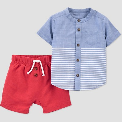 Baby Boys' Chambray Top & Short Set - Just One You® made by carter's Red