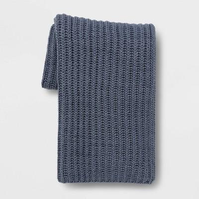 Chunky Knit Throw Blanket Blue - Threshold™